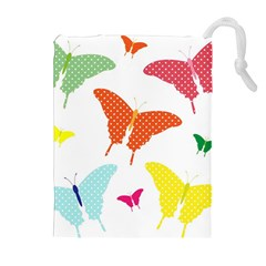 Beautiful Colorful Polka Dot Butterflies Clipart Drawstring Pouches (Extra Large)