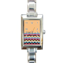 Chevrons Patterns Colorful Stripes Rectangle Italian Charm Watch