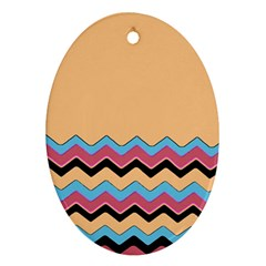Chevrons Patterns Colorful Stripes Ornament (oval)