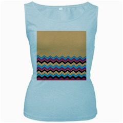 Chevrons Patterns Colorful Stripes Women s Baby Blue Tank Top
