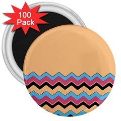 Chevrons Patterns Colorful Stripes 3  Magnets (100 Pack)