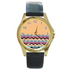 Chevrons Patterns Colorful Stripes Round Gold Metal Watch