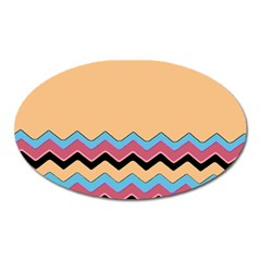 Chevrons Patterns Colorful Stripes Oval Magnet