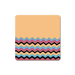 Chevrons Patterns Colorful Stripes Square Magnet