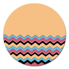 Chevrons Patterns Colorful Stripes Magnet 5  (round)