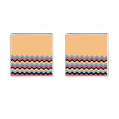 Chevrons Patterns Colorful Stripes Cufflinks (square)