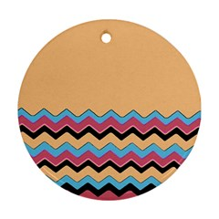 Chevrons Patterns Colorful Stripes Round Ornament (Two Sides)