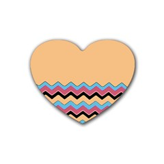 Chevrons Patterns Colorful Stripes Rubber Coaster (Heart)