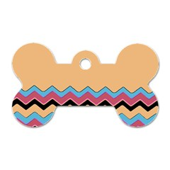 Chevrons Patterns Colorful Stripes Dog Tag Bone (Two Sides)