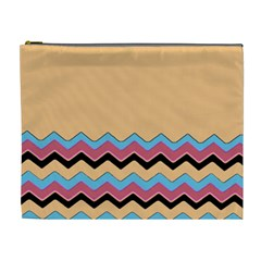 Chevrons Patterns Colorful Stripes Cosmetic Bag (XL)
