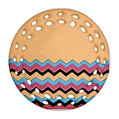 Chevrons Patterns Colorful Stripes Round Filigree Ornament (two Sides)