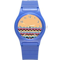 Chevrons Patterns Colorful Stripes Round Plastic Sport Watch (s)
