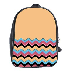 Chevrons Patterns Colorful Stripes School Bags (XL)