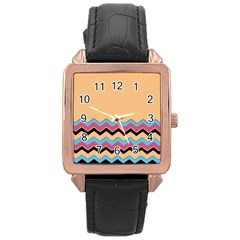 Chevrons Patterns Colorful Stripes Rose Gold Leather Watch
