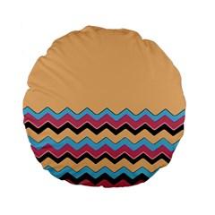 Chevrons Patterns Colorful Stripes Standard 15  Premium Flano Round Cushions