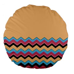 Chevrons Patterns Colorful Stripes Large 18  Premium Flano Round Cushions