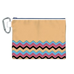 Chevrons Patterns Colorful Stripes Canvas Cosmetic Bag (L)