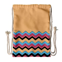 Chevrons Patterns Colorful Stripes Drawstring Bag (large)