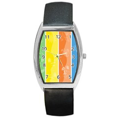 Floral Colorful Seasonal Banners Barrel Style Metal Watch