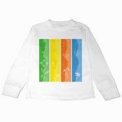 Floral Colorful Seasonal Banners Kids Long Sleeve T-Shirts