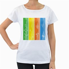 Floral Colorful Seasonal Banners Women s Loose-Fit T-Shirt (White)