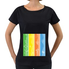 Floral Colorful Seasonal Banners Women s Loose-Fit T-Shirt (Black)