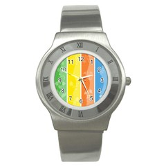 Floral Colorful Seasonal Banners Stainless Steel Watch