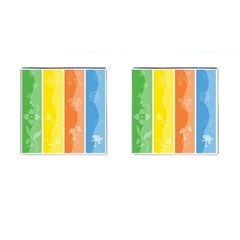 Floral Colorful Seasonal Banners Cufflinks (Square)