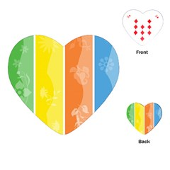 Floral Colorful Seasonal Banners Playing Cards (Heart)