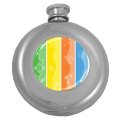 Floral Colorful Seasonal Banners Round Hip Flask (5 oz)