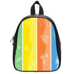Floral Colorful Seasonal Banners School Bags (Small)