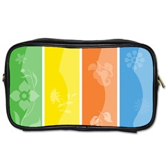 Floral Colorful Seasonal Banners Toiletries Bags 2 Side