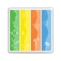 Floral Colorful Seasonal Banners Memory Card Reader (Square)