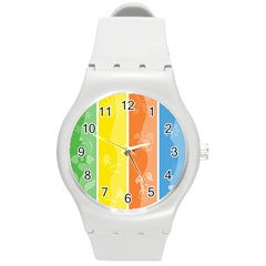 Floral Colorful Seasonal Banners Round Plastic Sport Watch (M)