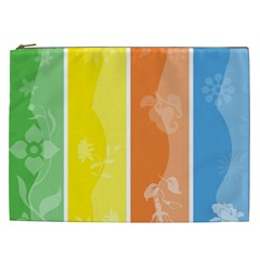 Floral Colorful Seasonal Banners Cosmetic Bag (XXL)