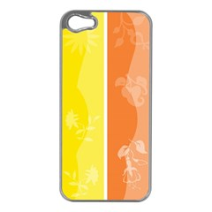 Floral Colorful Seasonal Banners Apple iPhone 5 Case (Silver)
