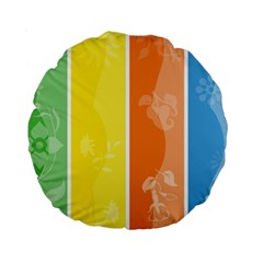 Floral Colorful Seasonal Banners Standard 15  Premium Round Cushions
