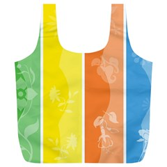 Floral Colorful Seasonal Banners Full Print Recycle Bags (L)