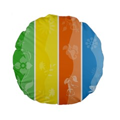 Floral Colorful Seasonal Banners Standard 15  Premium Flano Round Cushions