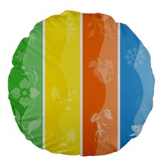 Floral Colorful Seasonal Banners Large 18  Premium Flano Round Cushions