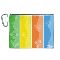 Floral Colorful Seasonal Banners Canvas Cosmetic Bag (XL)
