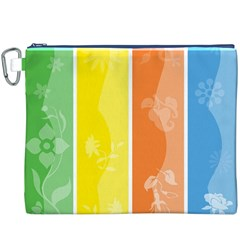 Floral Colorful Seasonal Banners Canvas Cosmetic Bag (xxxl)