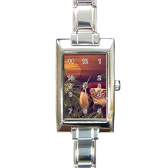 Tropical Style Collage Design Poster Rectangle Italian Charm Watch