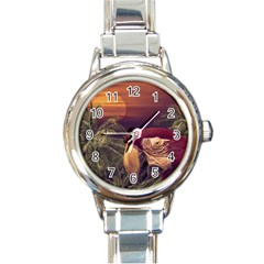 Tropical Style Collage Design Poster Round Italian Charm Watch