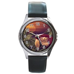Tropical Style Collage Design Poster Round Metal Watch