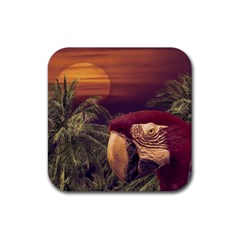 Tropical Style Collage Design Poster Rubber Square Coaster (4 pack)