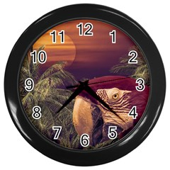 Tropical Style Collage Design Poster Wall Clocks (Black)