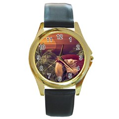 Tropical Style Collage Design Poster Round Gold Metal Watch