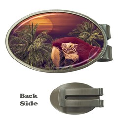 Tropical Style Collage Design Poster Money Clips (Oval)