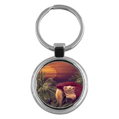 Tropical Style Collage Design Poster Key Chains (Round)